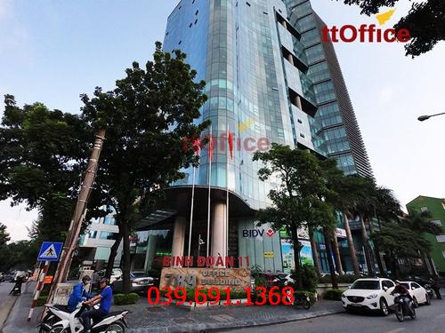 Thi công vách kính cường lực văn phòng tại 385 Hoàng Quốc Việt Building